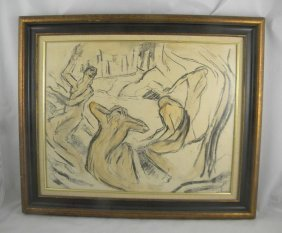 MID CENTURY IMPRESSIONIST DRAWING SIGNED STEINLAN, O