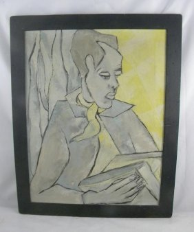 MID CENTURY IMPRESSIONIST O/C WOMAN WITH BOOK, MEASU