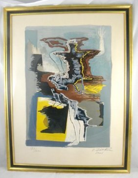 OSSIP ZADKINE MID CENTURY COLOR LITHOGRAPH TITLED T