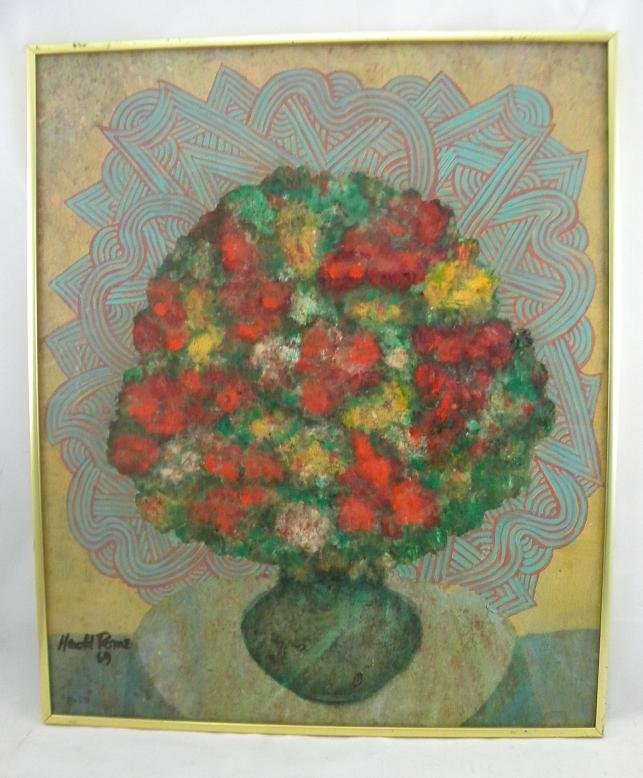13: HAROLD ROME 1969 STILL LIFE PAINTING. TITLED ON BAC