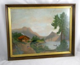 CIRCA 1900'S PASTEL LANDSCAPE WITH MAN IN BOAT ON R