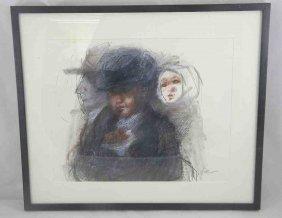 11A: RUTH GIKOW Street Scene With Posies Chalk w/ Crayo