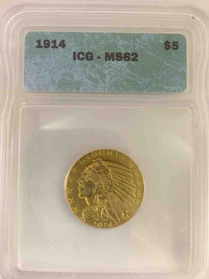 1914 $5 Gold Indian Certified MS62 by ICG