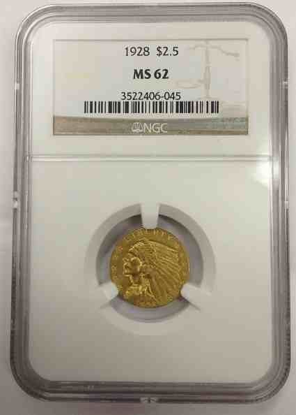 1928 Indian $2.50 Gold Coin Cerified MS 62 by NGC