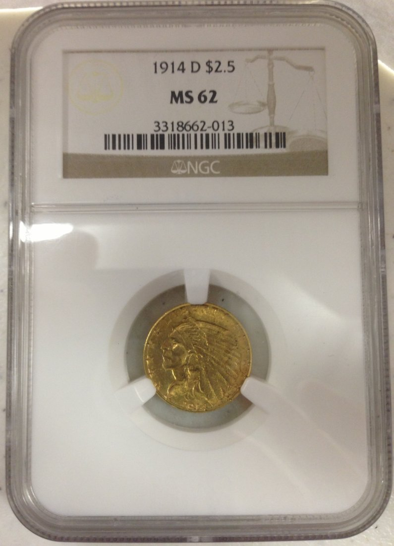 1914D $2.50 Gold Coin Certified MS 62 by NGC