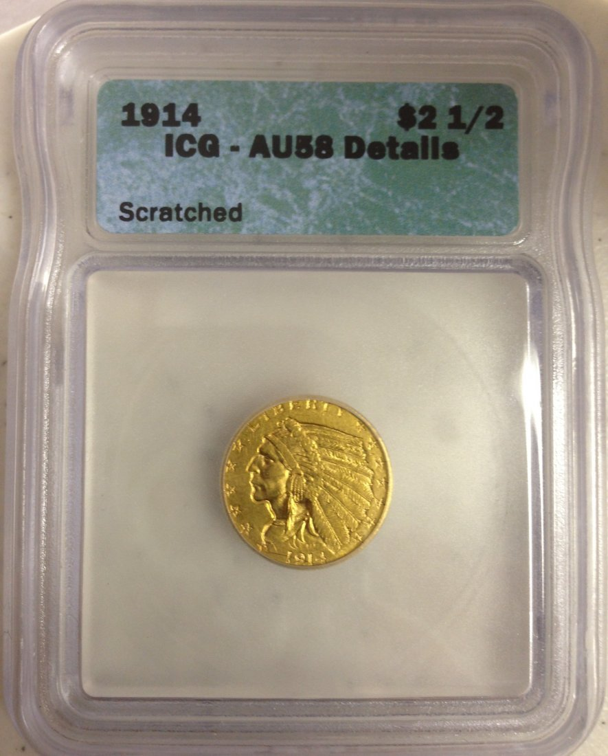 1914 Indian $2.50 Gold Coin Certified AU 56 Details Scr