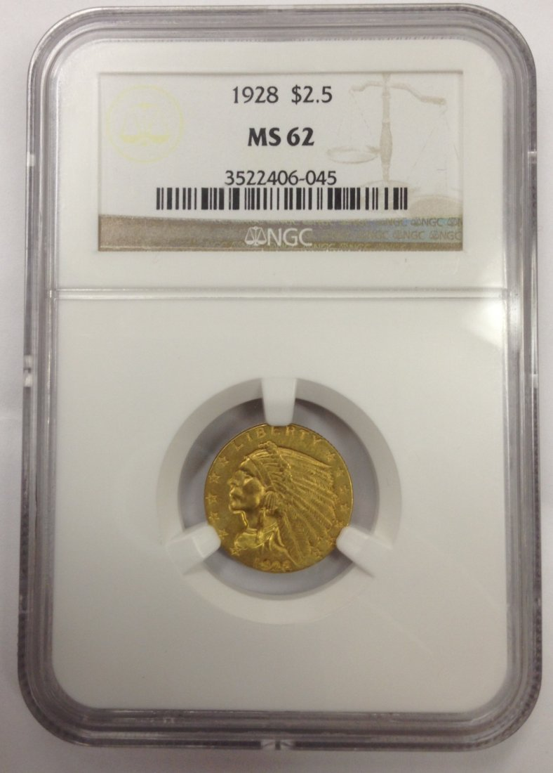 1928 Indian $2.50 Gold Coin MS 62 Certified NGC