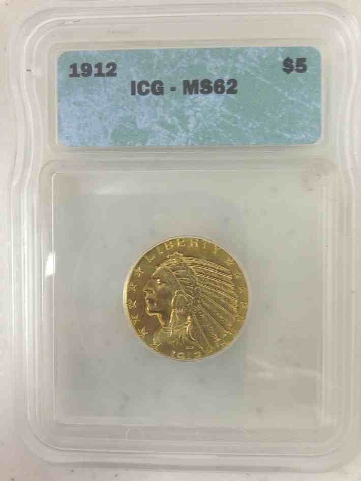 1912 $5.00 Indian Gold Coin Certified MS 62 by ICG