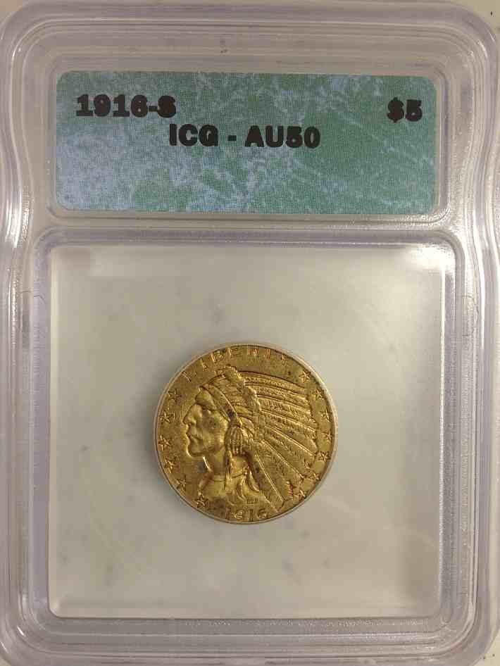 1916S  $5.00 Indian Gold Coin Certified AU 50 by ICG
