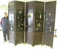 Monumental Ornate Chinese 5 Panel Screen With Symbols &