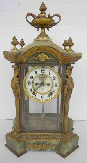 Ansonia Decorative Bronze & Green Onyx Mantel Clock