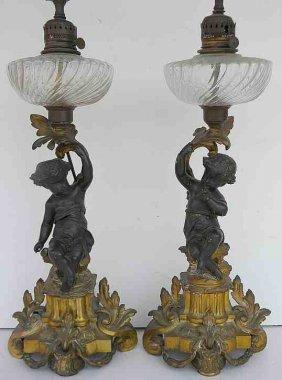 Pair Bronze CHERUB Decorative Oil Lamps