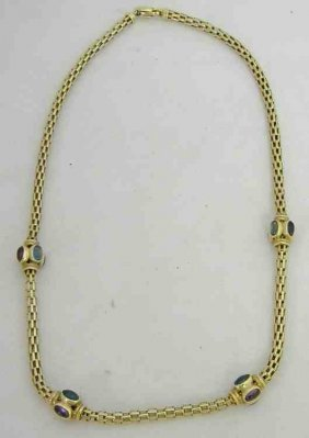 14K Ladies Necklace With Semi Precious Stones 14.9 dwt