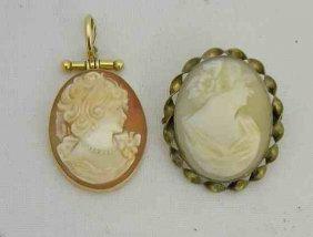 2 Victorian Era Cameos (1) 14K & (1) Gold Filled