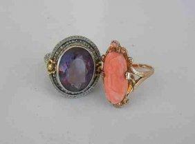 (2) Older Ladies 14K Rings (1) Coral & (1) Purple Stone