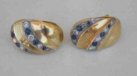 14K Diamond & Sapphire Earrings
