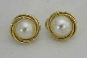 Pair 14K Mabe Pearl Earrings