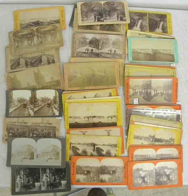 57 New York City Stereo View Cards, diversified lot, ma