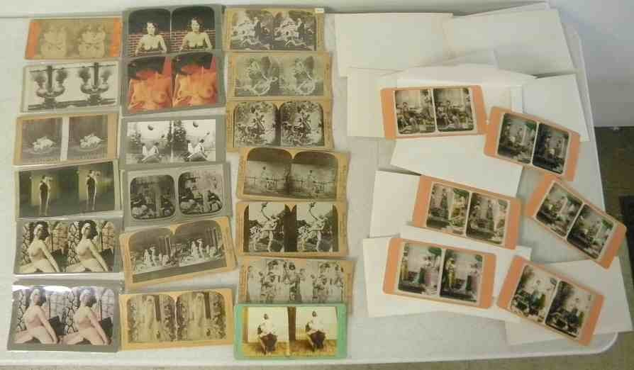 Mixed Stereo Card Lot Including Nudes & 100 plus reprod