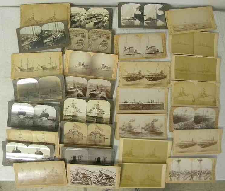 35 Real Photo Ships Stereo View Cards, good mixed lot.