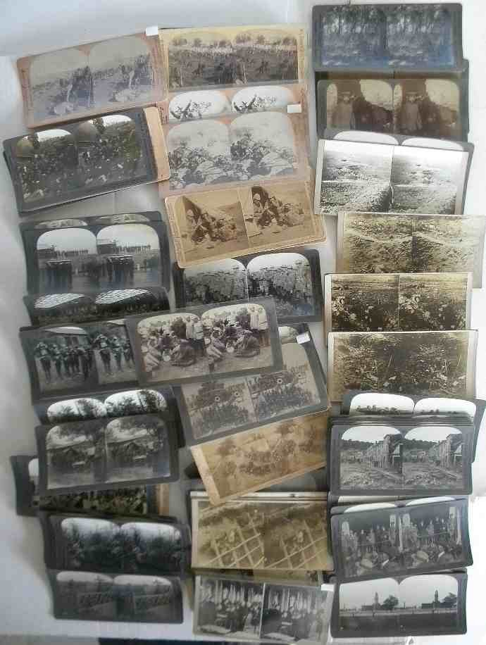 87 Military Real Photo Stereoview Cards, good mixed lot