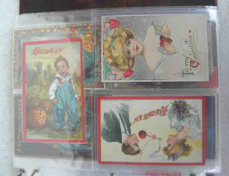 POSTCARD ALBUM WITH 81 POSTCARDS including christmas, b