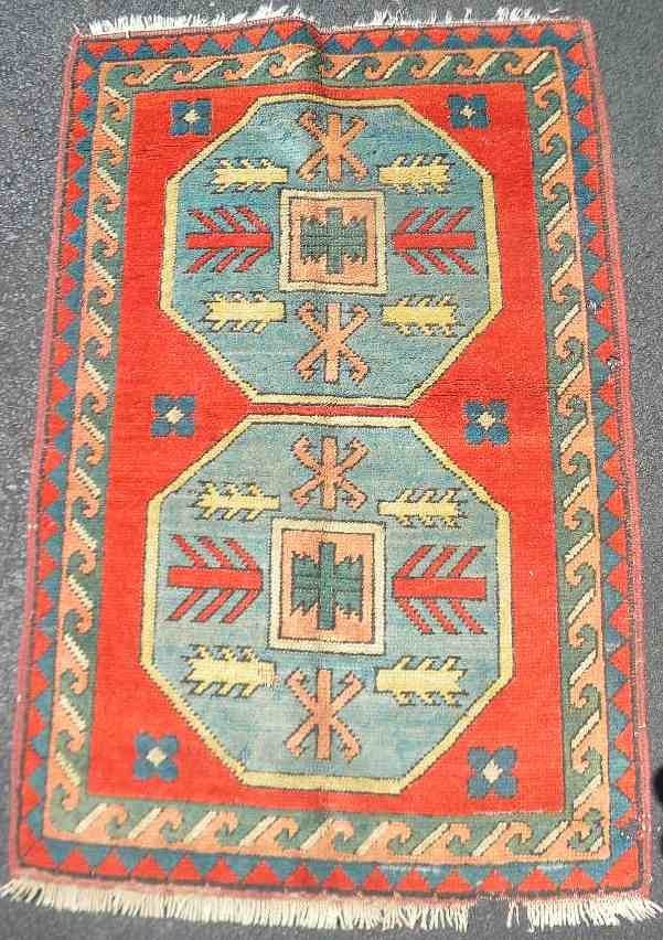 "Old Estate Oriental Rug 45"" x 31"" Unusual Pattern"