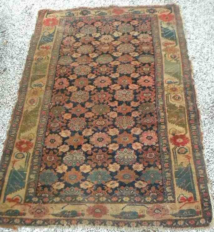 "Estate Handmade Oriental Rug 71"" x 49"" Unusual Pattern"