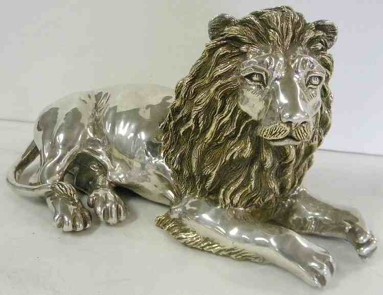 "11"" Long STERLING SILVER Figural Lion"