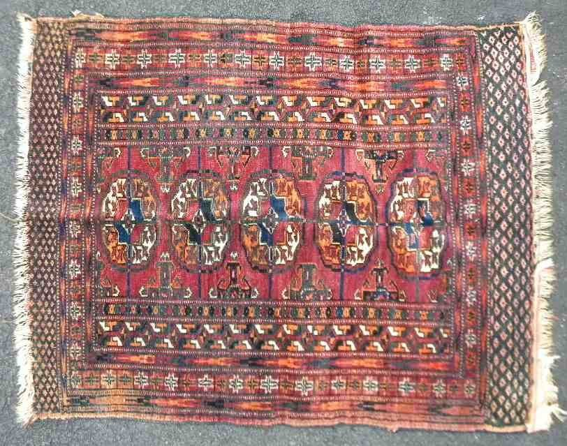 Early Estate Small Handmade ORIENTAL Rug