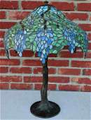 HANDEL Large Leaded Glass Shade Table Lamp with Bronze