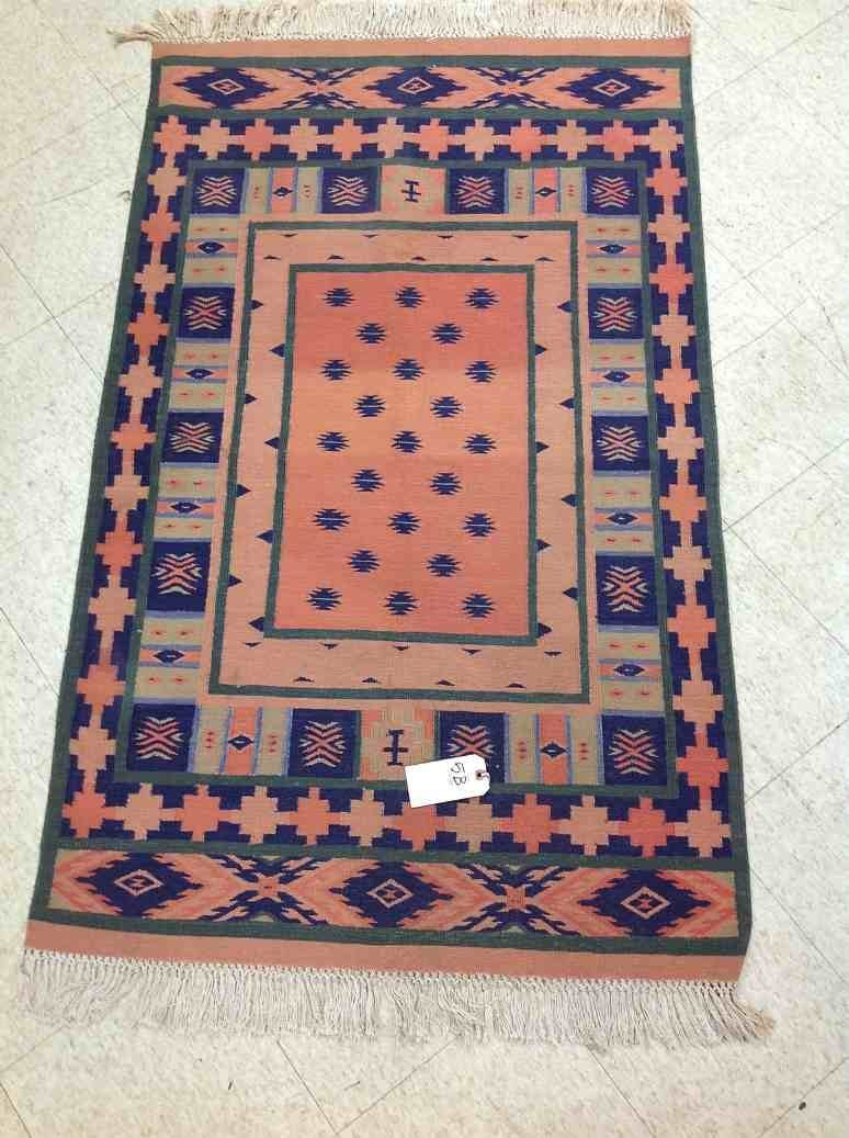 HAND MADE MEXICAN(?) THROW RUG, UNSURE OF AGE, FROM EST