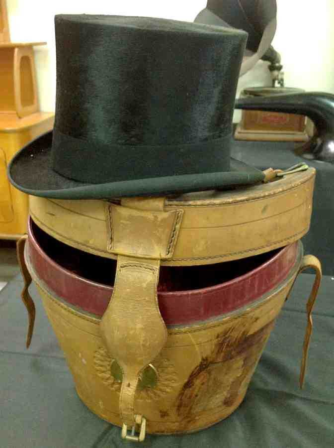 e7091001534c2 Collins   Fairbanks Top Hat in Original Leather Hat Box