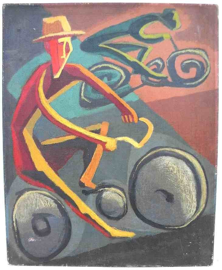 ALFRED STATLER IMPRESSIONIST O/C PEOPLE ON BICYCLES,