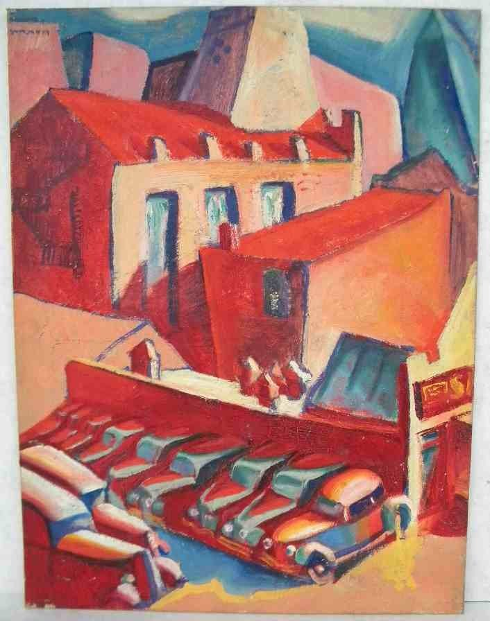 ALFRED STATLER IMPRESSIONIST O/B NYC BUILDINGS AND CARS