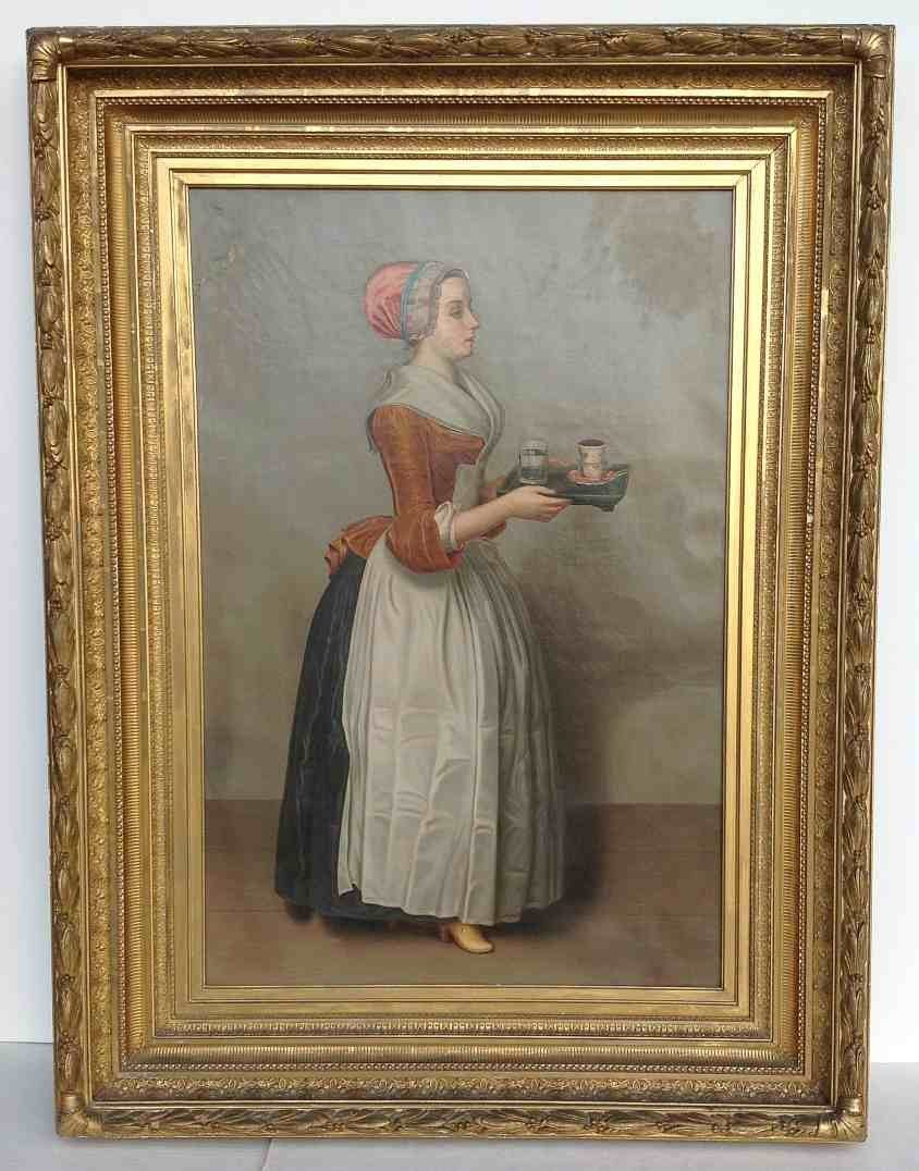 """19thC o/c """"La Belle Chocalatiere"""" Woman or Bakers"""