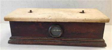 Early Pharmacy Balance Scale with marble top and oak