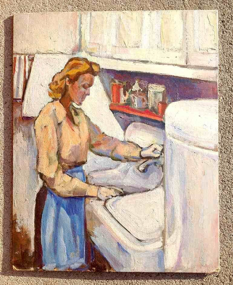 Circa 1930's Impressionist o/b Woman at Sink N. Resnick