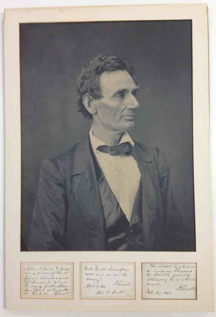 3 Signed Abraham Lincoln Notes & Hesler Ayres Photo