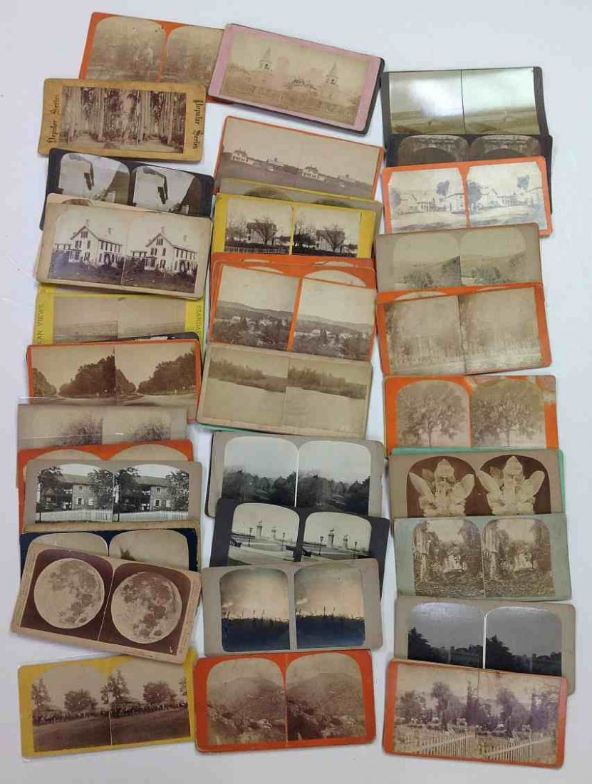 53 Misc. Unknown's Real Photo Stereo Cards, good mix of