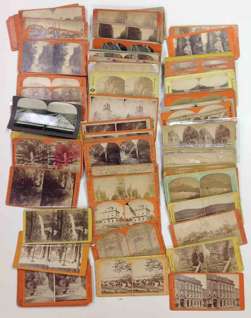 107 N Y State Real Photo Stereo Cards, good mix, good
