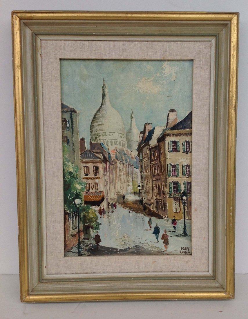 """O/C Paris street scene, signed lower right """"Paris,"""