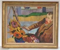 Contemporary O/C portrait of Van Gogh painting