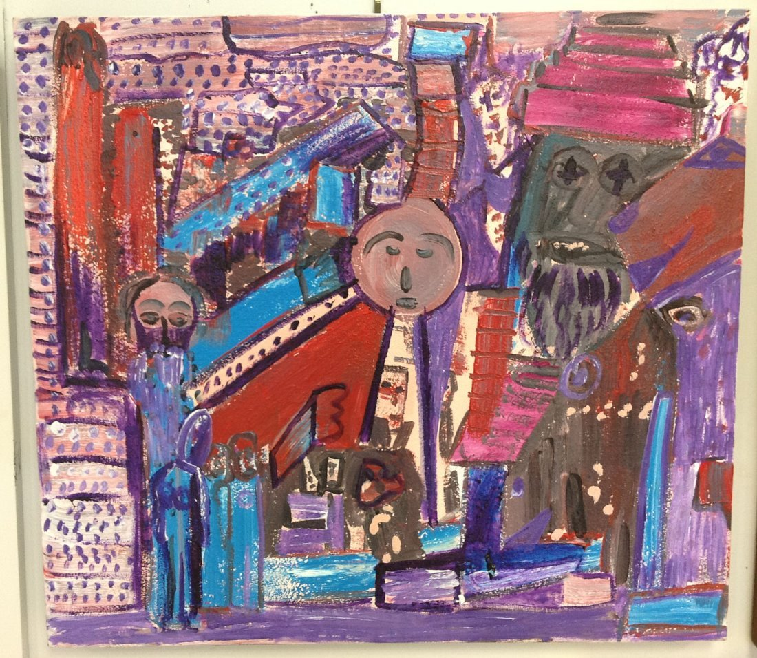 """Abstract o/c titled """"Interior of Foreign Cities"""","""