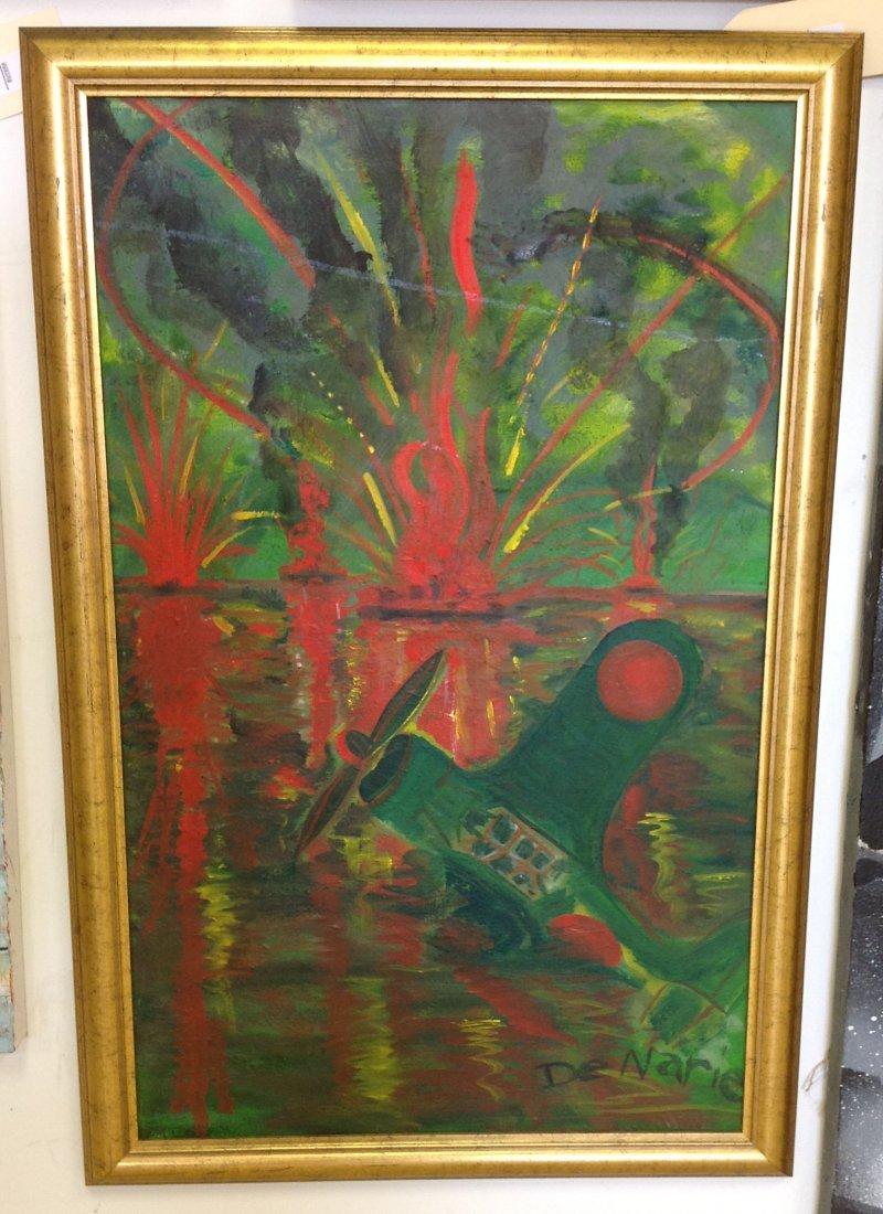 Abstract o/c of plane crash signed De Narie, framed.