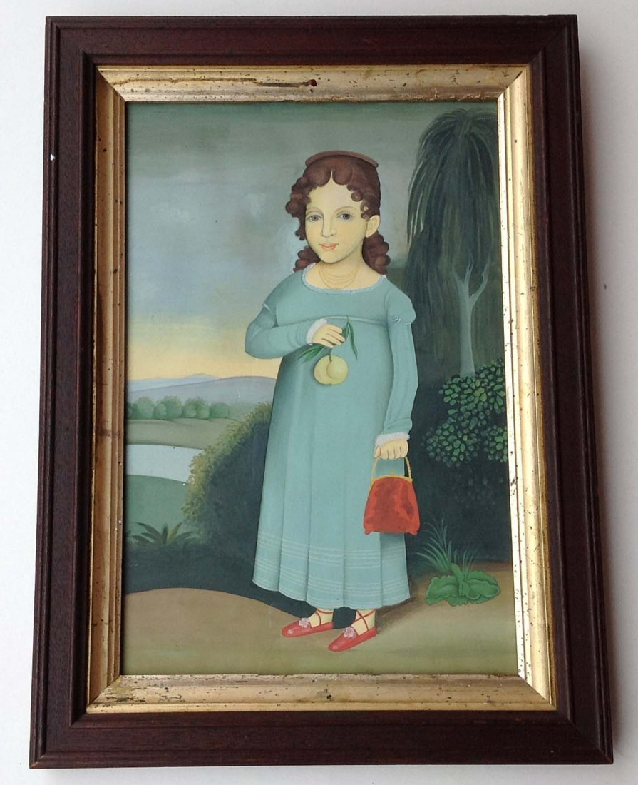 Primitve Gouache copy of young girl holding purse.