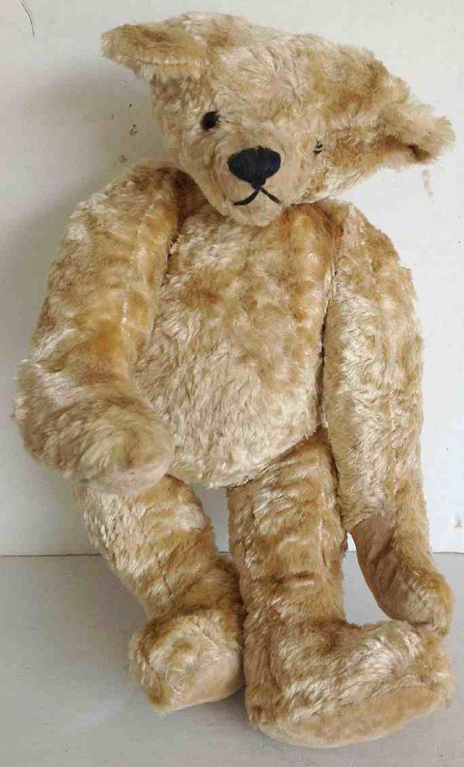 """EARLY STEIFF 19"""" TEDDY BEAR, OLD BUTTON, HUMP BACK,"""