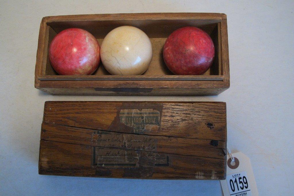 BOX SET OF 3 BILLIARD BALLS, 2 RED & 1 WHITE IN
