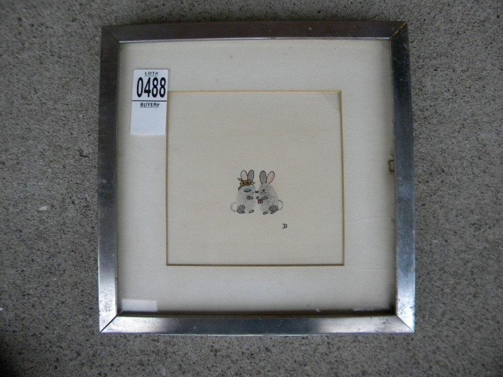PEN & INK OF 2 MICE BY KATE DENISON, GREENWICH VILLAGE,