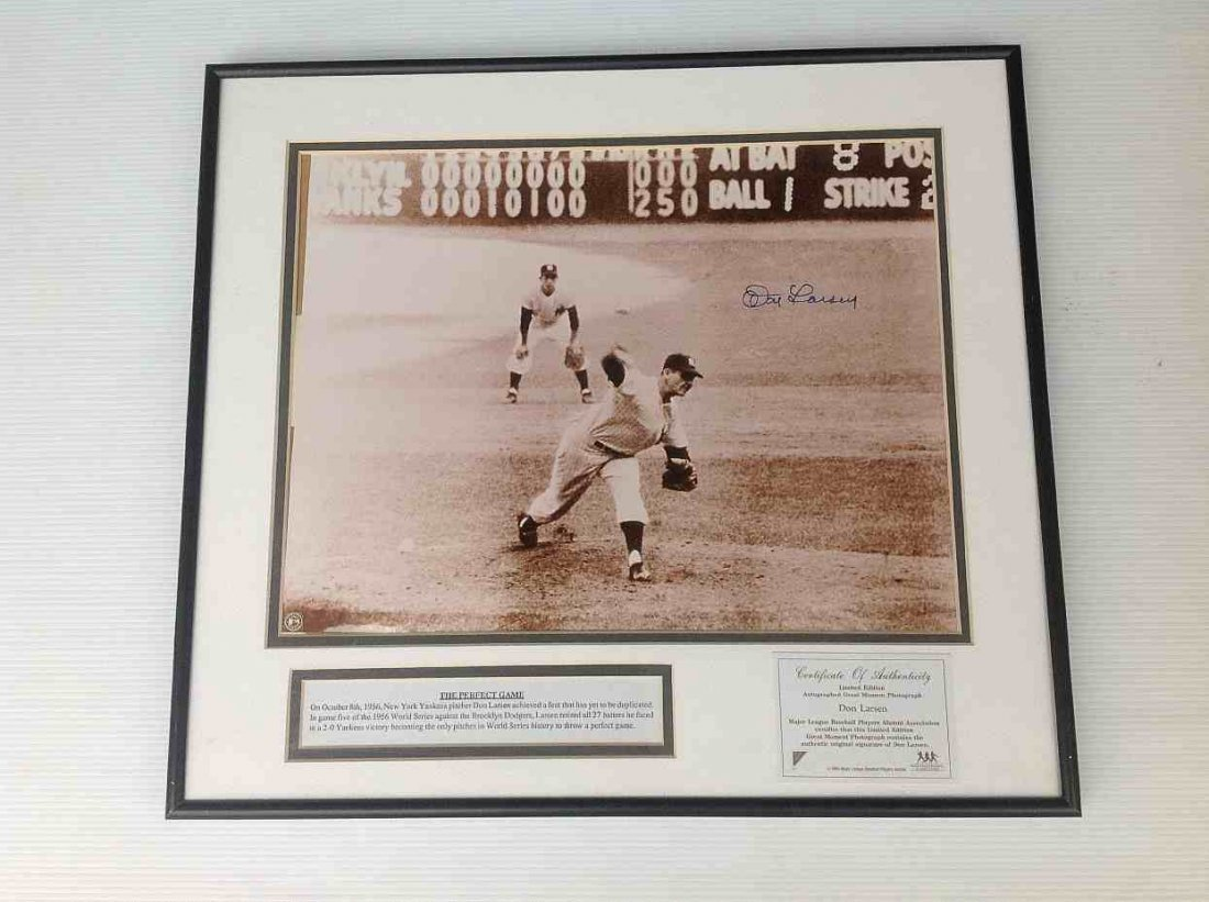 DON LARSEN SIGNED PERFECT GAME PHOTOGRAPH, WITH COA,